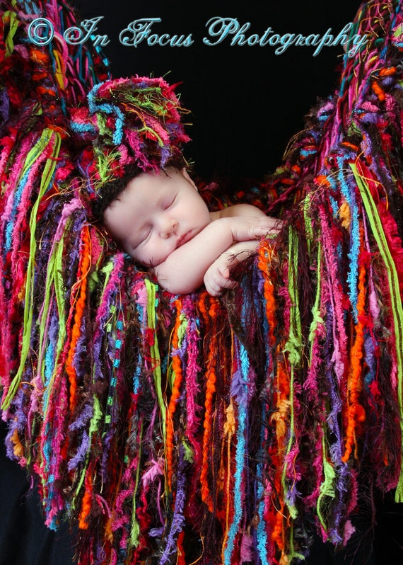 Baby Photo Props SET. Hat AND Fringe Blanket / Hammock. Colorful 'Bold' Newborn Infant Girl Photography Props