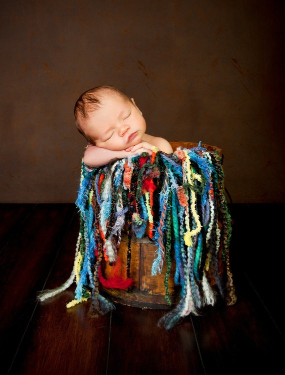 Mini Fringe Photo Prop (Use as Scarf OR Baby Blanket), Thick, Chunky, Bulky Yarns. Colorful 'Fattie Fringe O Rama' Newborn Photography Prop