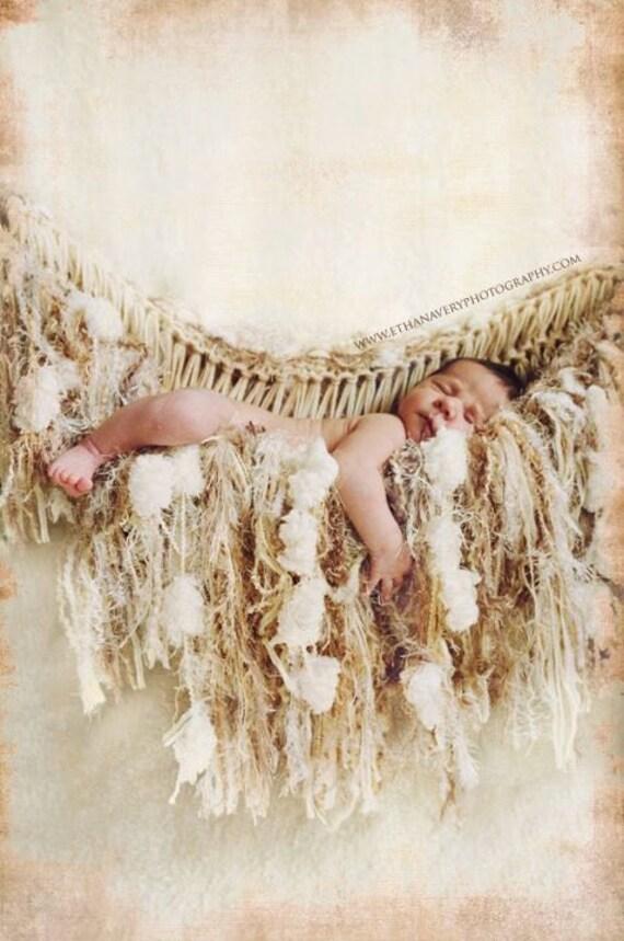 Suspend Baby Props Beige Hammock Fringe Prop Newborn Baby Blanket Prop. Ivory 'Granola'