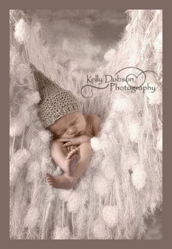 White Fringe Hammock / Baby Blanket Photo Prop with Silver 'Frost' Photography Prop for Newborn Infant Babies