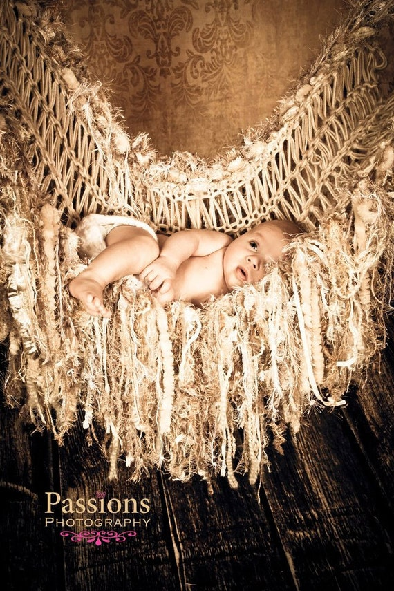 Sepia Brown Fringe Hammock Baby Photo Prop Blanket Photography Prop Newborn Infant