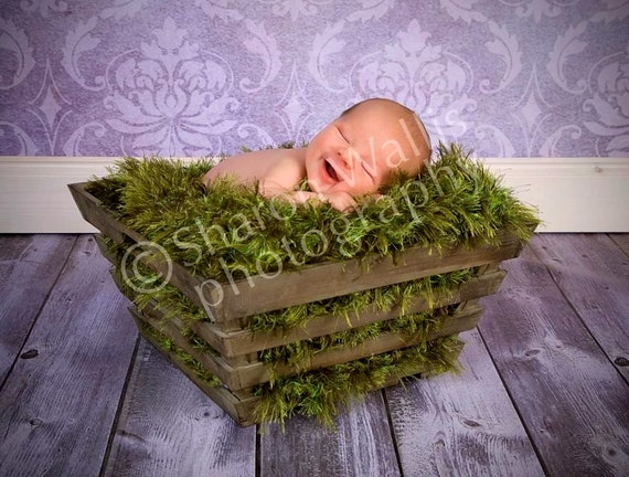 Deep Green Grass Texture Photography Prop Baby Blanket. TWO FEET, Every Inch Made by HAND Fake 'Grass' Rug