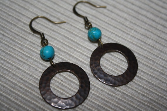 SALE Hammered Brass Infinity Ring with Turquoise accent Earrings