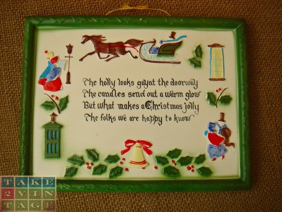 Vintage Norcrest Handpainted Porcelain Christmas Plaque