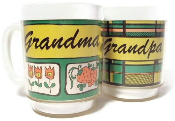 Vintage 1976 Pair of Thermo-Serv Mugs for Grandma and Grandpa