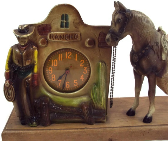 Vintage Cast Metal Rancho Cowboy Clock with E.R. Ives Horse