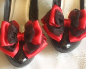 Black and Red Shoe Clips Satin Organza Bow Shoe Clips 10cm