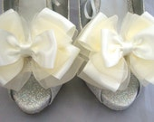 Ivory ShOe CliPs Satin and Organza Wedding Bridal Pinup Burlesque Peony Bows 4 Shoes by Seriously Sassyx