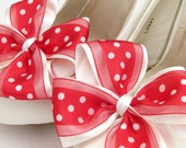 Ivory ShOe CliPs Satin Red Polka Dot Wedding Bridal Shoe Accessory Pinup Burlesque Pair By Seriously Sassy