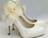Ivory Bow ShOe CliPs Satin & Organza Wedding Custom Bridal Shoe Accessory Pair Seriously Sassy Pinup Burlesque