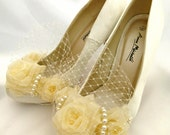 Birdcage Veil Wedding Bridal Shoes Custom Handmade With Fresh Water Pearls and Organza Roses Fairytale Shoes