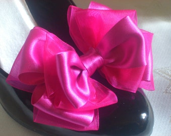 Cerise Fuschia Pink Bow Shoe Clips For Shoes Big Party Prom Pinup Burlesque by Seriously Sassy
