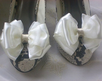 Ivory White ShOe CliPs Satin and Organza Ivory Lame Centre Wedding Bridal  Pinup BUrlesque Dita Bows 4 Shoes by Seriously Sassy
