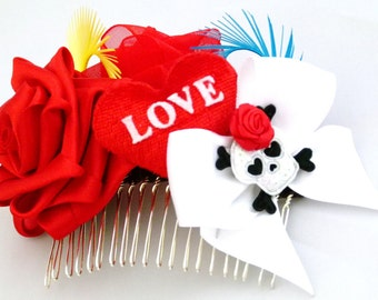 Hair Tattoo Corsage Fascinator Comb Heart Love Rose Bow Skull Feather Red White Black Blue Yellow Pinup Burleque By Seriously Sassyx