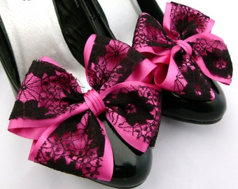 Cerise Pink ShOe CliPs Satin and Black Lace Bows for Shoes Heels or Flats Party Prom Wedding Pinup Burlesque by Seriously Sassyx