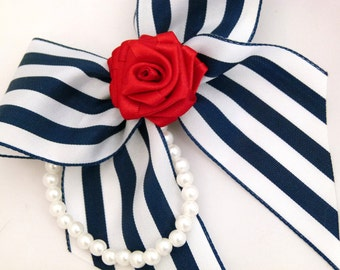 Nautical Rose Bow With Pearls Hair Clip / Brooch Clip Red Satin Navy White Stripe For Girls to Adults Pinup Burlesque by Seriously Sassyx