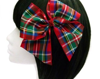 Tartan Plaid Hair Bow Sparkle Lame Centre Big Bow Girls  Ladies Pinup Burlesque Elizabeth Bow In Royal Stewart Tartan By Seriously Sassyx