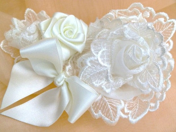OOAK Ivory Bridal Hair Comb Fascinator Corsage  Lace and Satin Rose Bow.