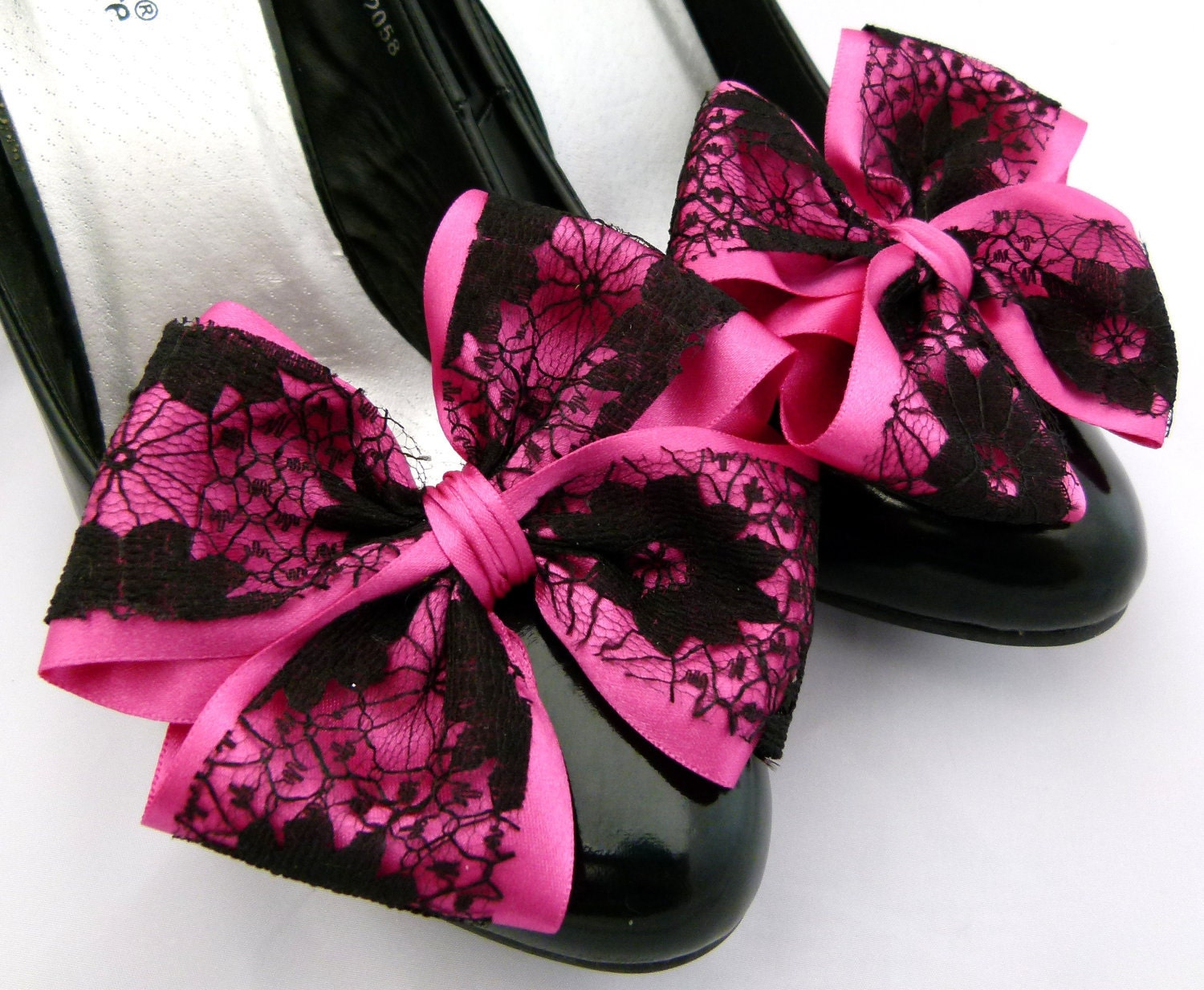 cerise pink shoe satin and black lace bows for shoes