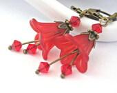 Bright red lovely flowers dangle earrings