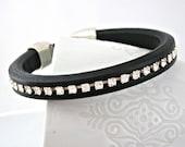 Thick black spanish leather bracelet with Swarovski rhinestone chain and zamak clasp