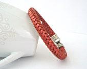 Braided leather bracelet with metallic emberglow finish and zamak clasp