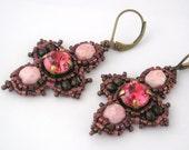 Indian pink, pale rose and metallic raspberry beaded earrings