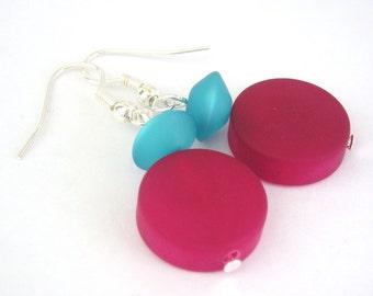 Geometric turquoise and fucshia earrings