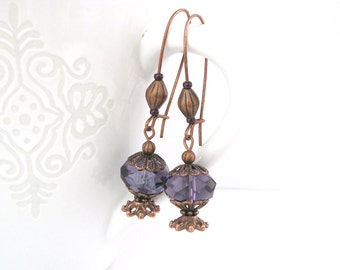 Purple and copper vintage style earrings
