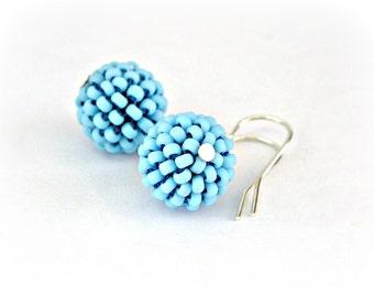 Cockatoo blue - Beaded beads earrings