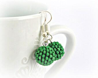 Emerald Beaded beads earrings