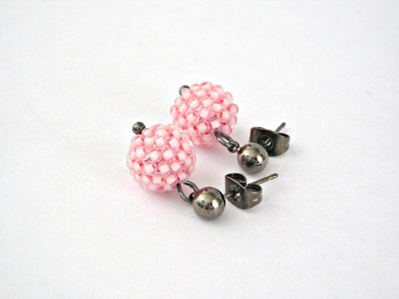 Tiny soft pink beaded beads gunmetal earrings