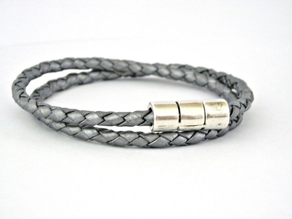 Double wrapped charcoal grey braided leather bracelet with magnetic clasp