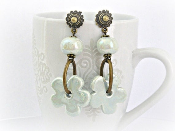 Very pale watercolor mint green ceramic flower and bead brass vintage style earrings
