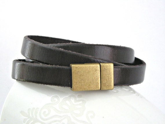Dark chocolate brown leather bracelet triple wrapped with magnetic clasp
