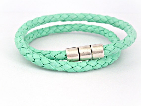 Light green braided leather double wrapped bracelet with magnetic clasp