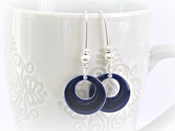 Navy enamel hoops with long silver color earhooks earrings