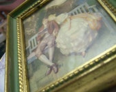Reserved for SillyWilly -- Vintage Chromolitho Small Romantic Scene Prints with Frame set of 2