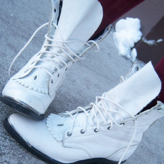 Vintage Lolita White Leather Boots.