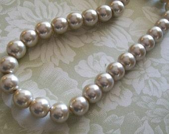 10mm Beige round Glass Pearls  16 inch strand