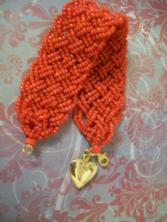 Woven Red Seed Bead Bracelet with Gold Heart Locket Charm