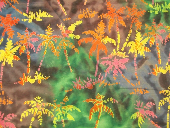 PALM TREES Batik Cotton Quilting Fabric - Large Fabric Remnant - Tropical Colors - 38 x 60 inches