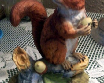 Folklore Red Squirrel Collectible by Andrea JAPAN 5622 Hand-painted Porcelain