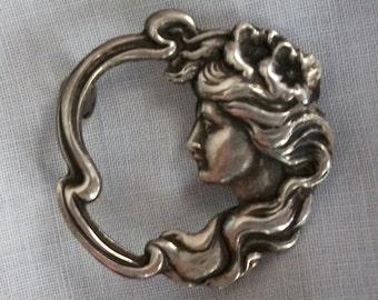 Sterling GODDESS in the MOON Circle Pin Repousse Victorian