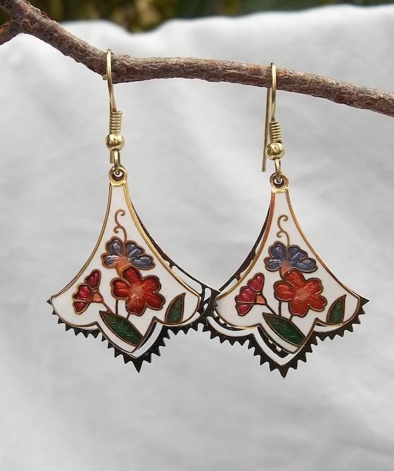 Folklore Flowers & Gold Fan Earrings