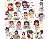 Girl Alphabet Poster - Back to school, School Room Decor, Girl's Room Art, Nursery Art