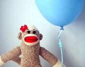 Sock Monkey Plush - handmade, Girl's sock monkey, Children's Toy, Stuffed Animal