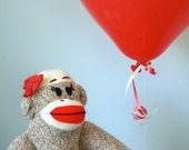 Organic Sock Monkey Doll - Organic Cotton Fill, Eco-Friendly, Handmade, Children's Toy, Stuffed Animal, Girl
