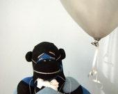 Argyle Sock Monkey Plush - Children's Toy, Stuffed Animal, Bow tie, Black, Blue