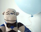 Sock Monkey Plush, Argyle - Handmade stuffed toy, Children's Toy, Stuffed Animal, Blue, Gray
